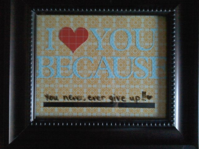 I made this for Valentine's Day a couple years ago! I got a great deal on the frame at Hobby Lobby when it was on sale, so check the ads!