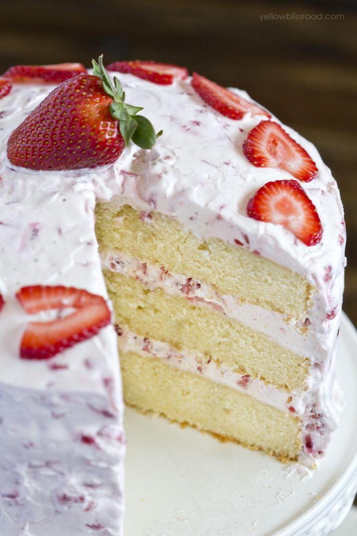 Fresh Strawberry Cake Recipe With Strawberry Whipped Cream Frosting Recipe Fresh Strawberry Cake Cake Recipes Strawberry Recipes