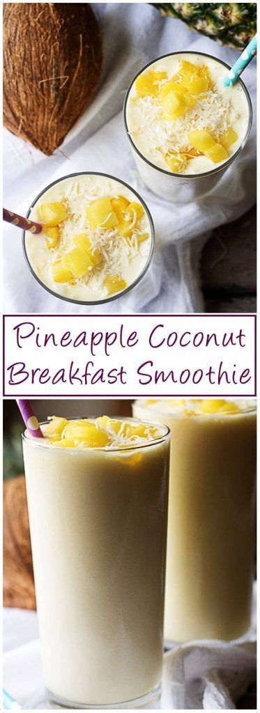 A delightful pineapple coconut breakfast smoothie packed with sweet pineapples, creamy coconut milk, and delicious shredded coconut. via @berlyskitchen