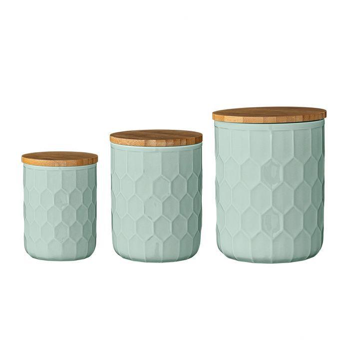 3 Piece Ceramic Jar with Bamboo Lid Set