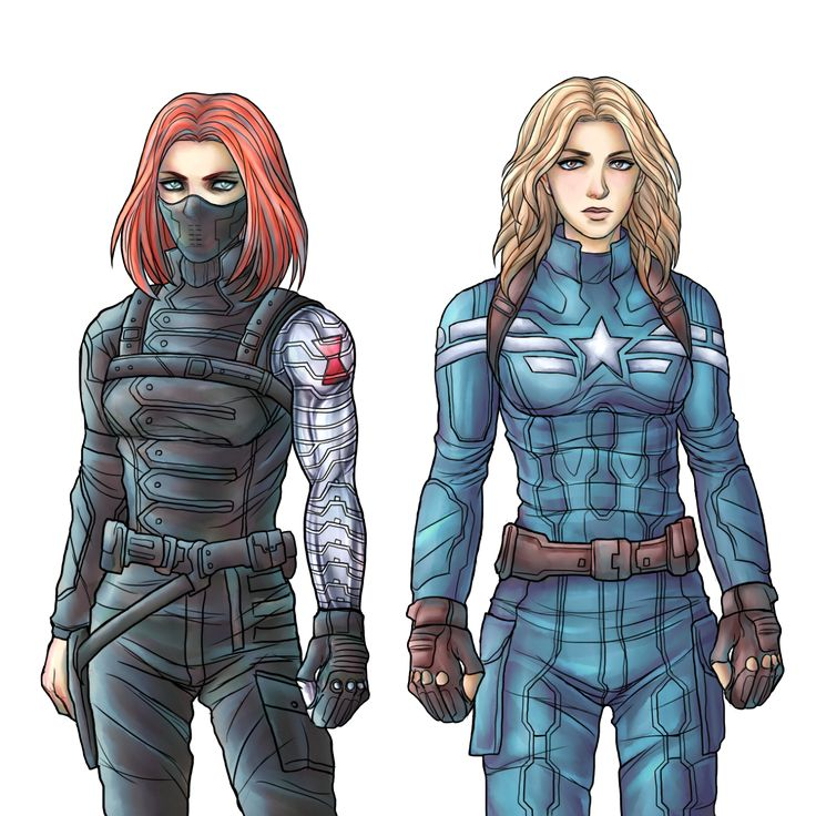 """Natasha Romanoff as the Winter Soldier, Sharon Carter as the Cap"" — I didn't even realize I wanted this... <3"