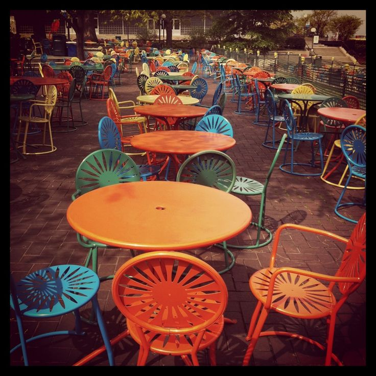 Deserted cafe, mismatched chairs, beautiful hues.: Outdoor Seating, Favorite Places, Colors, Patio Sets, Memories Union, Union Terraces, Front Porches, Wisconsin Union, Madison Wisconsin