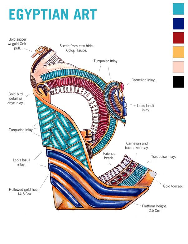 A Walk Through Art History - Imgur Shoe Designs inspired by different cultures/ art periods