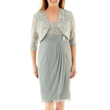 R&M Richards 3/4-Sleeve Jewel-Pin Jacket Dress   found at @JCPenney