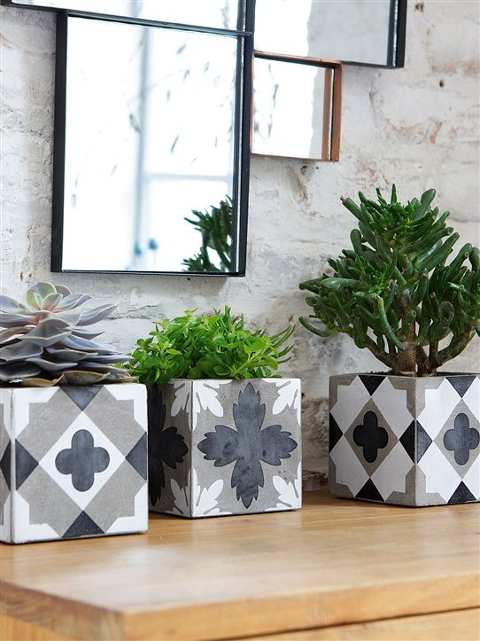 CACHE-POT PAR LOT DE 3 GRIS/BLANC/NOIR                                                                                                                                                                                 Plus