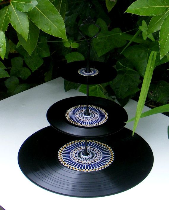 3 Tier Cake Stand Vinyl CD Cake Stand recycled by Popapeep on Etsy