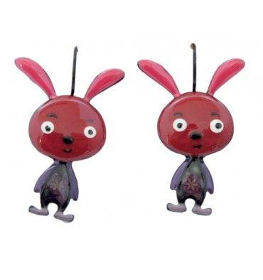 Boucles d'oreille lapin rouge, lol bijoux