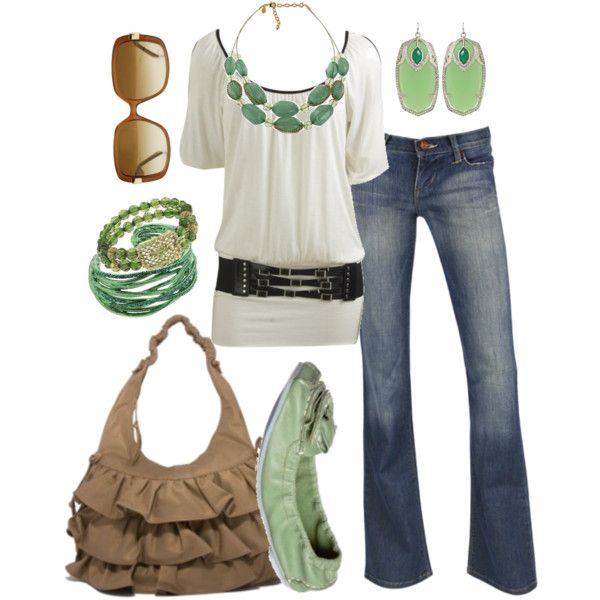 "Indie Premium Sunset Jean In Dawn + Belted Cold Shoulder Tunic by Wet Seal + Joan Rivers Caged Couture 2 Row Beaded 18"" Necklace + Margarita in suede leather by Viva Bags of California + Green Giudecca Ballet Pump + Honeycomb Forest Green Beaded Bracelet"