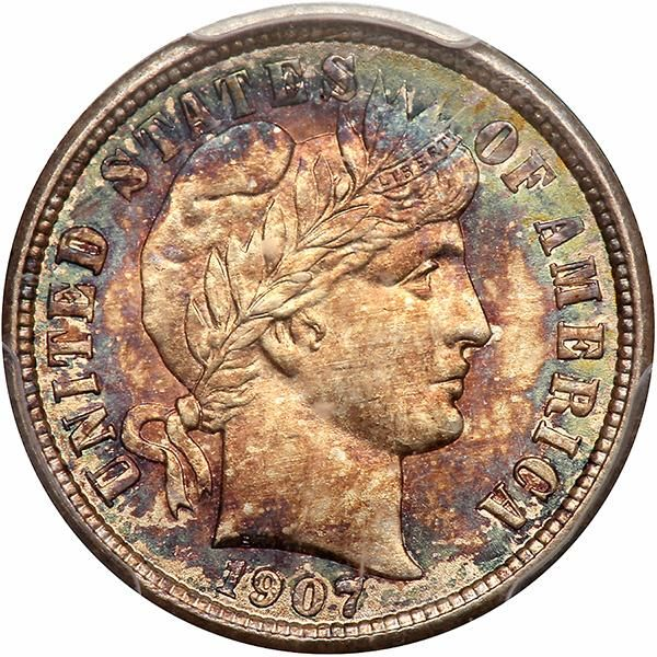 1907-D Exquisitely toned with mottled gold, blue-green, and russet and traces of...
