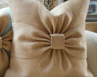 Items similar to Burlap bow pillow cover in blush pink and off white burlap 18x18 on Etsy