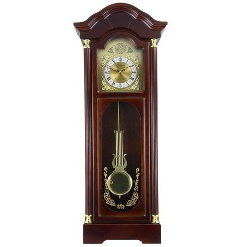 "Bedford Clock Collection 33"" Antique Cherry Oak Finish Chiming Wall Clock with Roman Numerals"