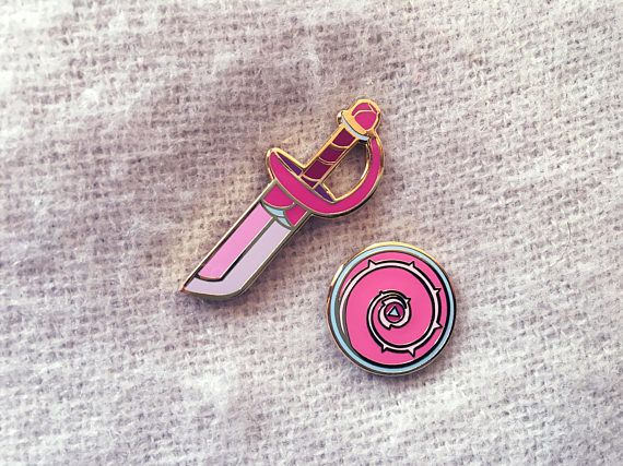 Steven Universe Rose Quartz Sword and Shield Enamel Pin