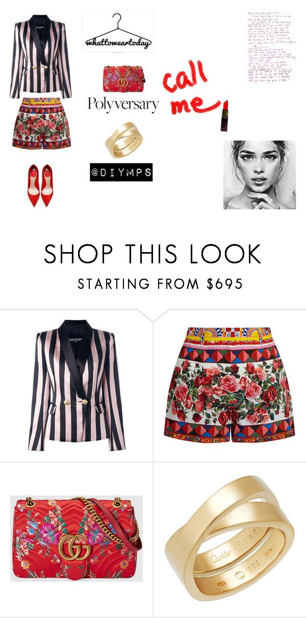 """Summer love, by @diymps"" by diymps on Polyvore featuring Balmain, Dolce&Gabbana and Gucci"
