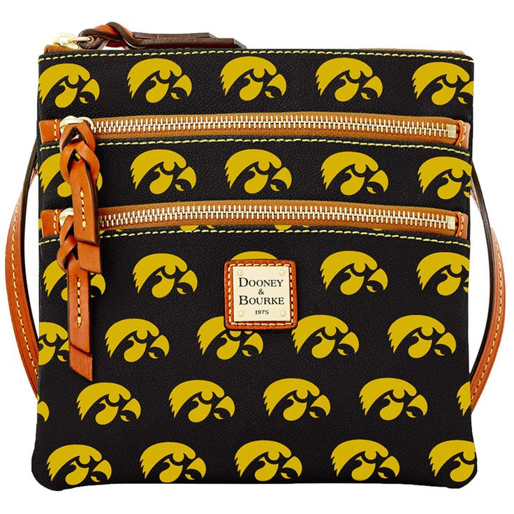 Women's Dooney & Bourke Black Iowa Hawkeyes Triple-Zip Crossbody Purse