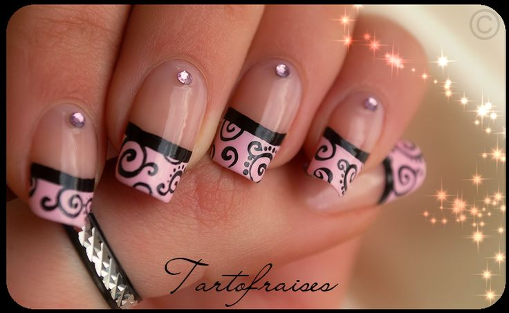 black and pink french tips...