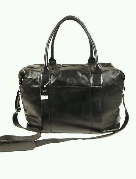 NEW Next Black Leather Weekend Holdall Gym Cabin Bag