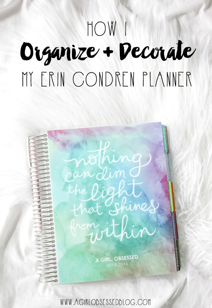 Original pinner sez: How I Organize + Decorate My Erin Condren Planner | A Girl, Obsessed