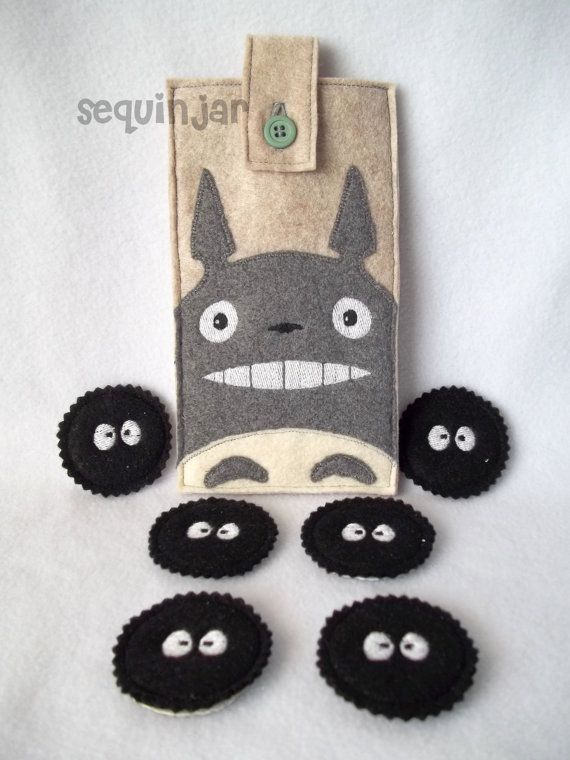 Cute handmade felt Totoro phone cozy/ sleeve/ bag and sootsprite/ soot gremlin magnets on Etsy, $25.00