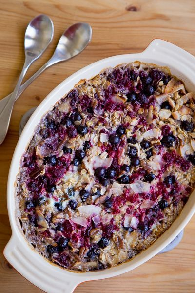 Morning baked oatmeal with berries, pecans, coconut, cinnamon, and ginger.  http://www.theculinarylife.com/2014/morning-baked-oatmeal-berries-coconut/  This baked oatmeal recipe is full of goodness: fresh berries, thick coconut, toasty pecans, and maple syrup. You can make ahead and reheat throughout the week, or prepare the night before and slide into the oven first thing in the morning.