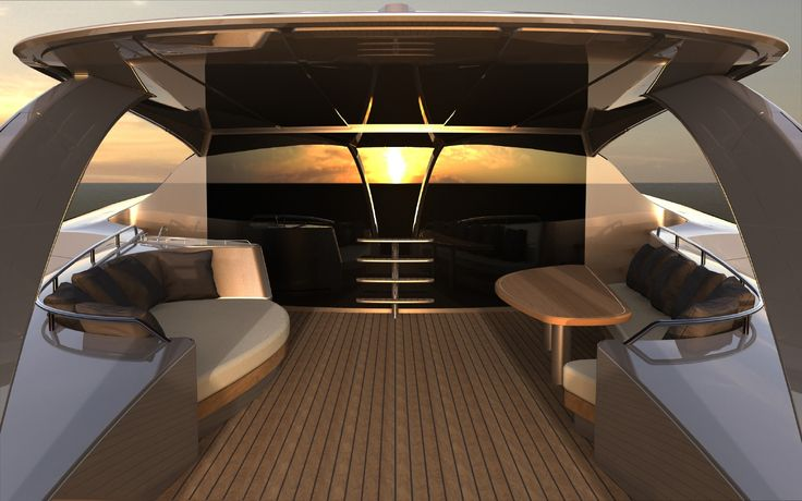 Super yacht with modern outside interior