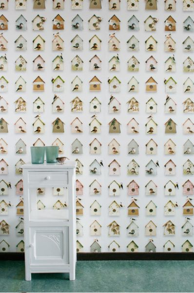Kinderbehang Vogelhuis Pastel