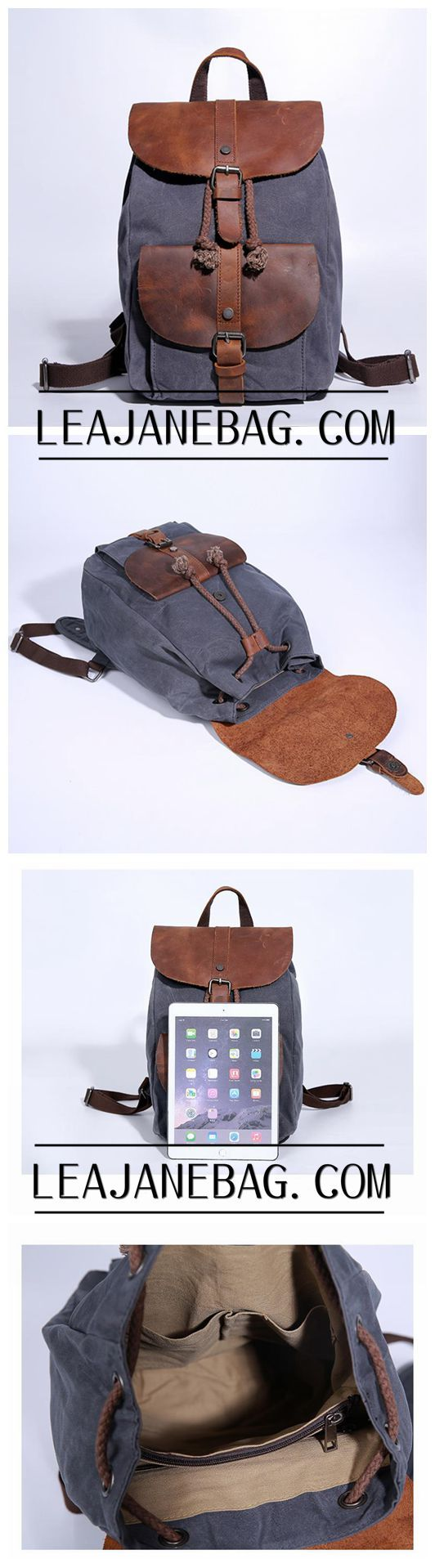 Waxed Canvas Backpack, Diaper backpack, School Backpack, Canvas Leather Laptop backpack JC021