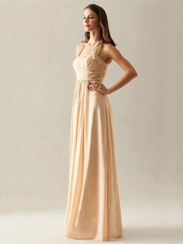 Vestido de Dama de Honor de Gasa Hasta el Suelo - USD $ 69.99