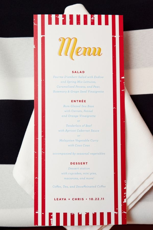 red striped menu designed by Loveleigh Invitations
