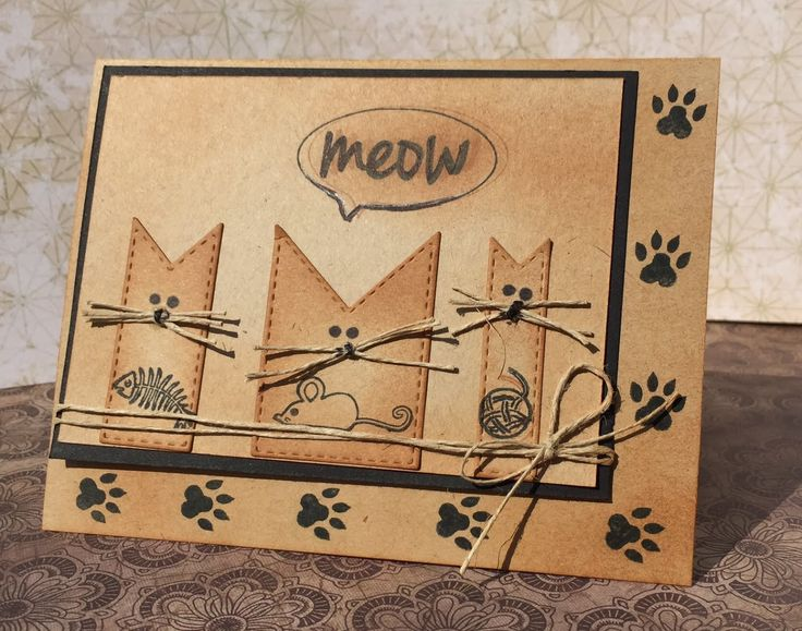 Frantic Stamper Happenings: Cat's Meow (Kathy Berger)  Cute use of fish banners for for kitties.