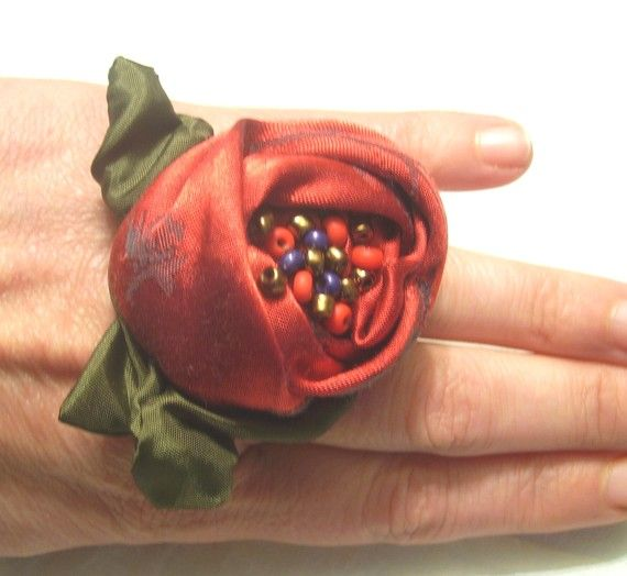 Baroque Ring Ring red Romantic ring Upcycled by recyclingroom, $18.00