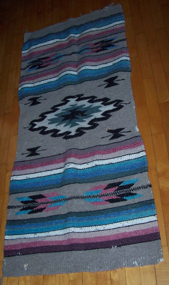 Native American Saddle Blanket Old Navajo Hand Woven Wool