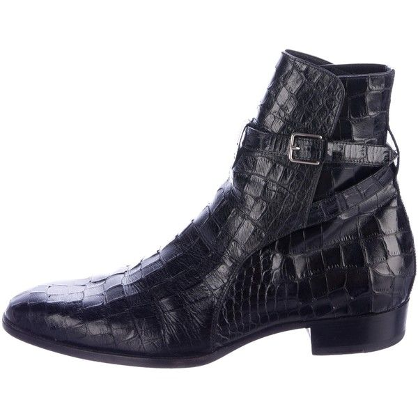 Pre-owned Saint Laurent Embossed Jodhpur Boots ($825) ❤ liked on Polyvore featuring men's fashion, men's shoes, men's boots, black, mens black leather boots, mens shoes, yves saint laurent mens boots, mens black leather shoes and mens black buckle shoes