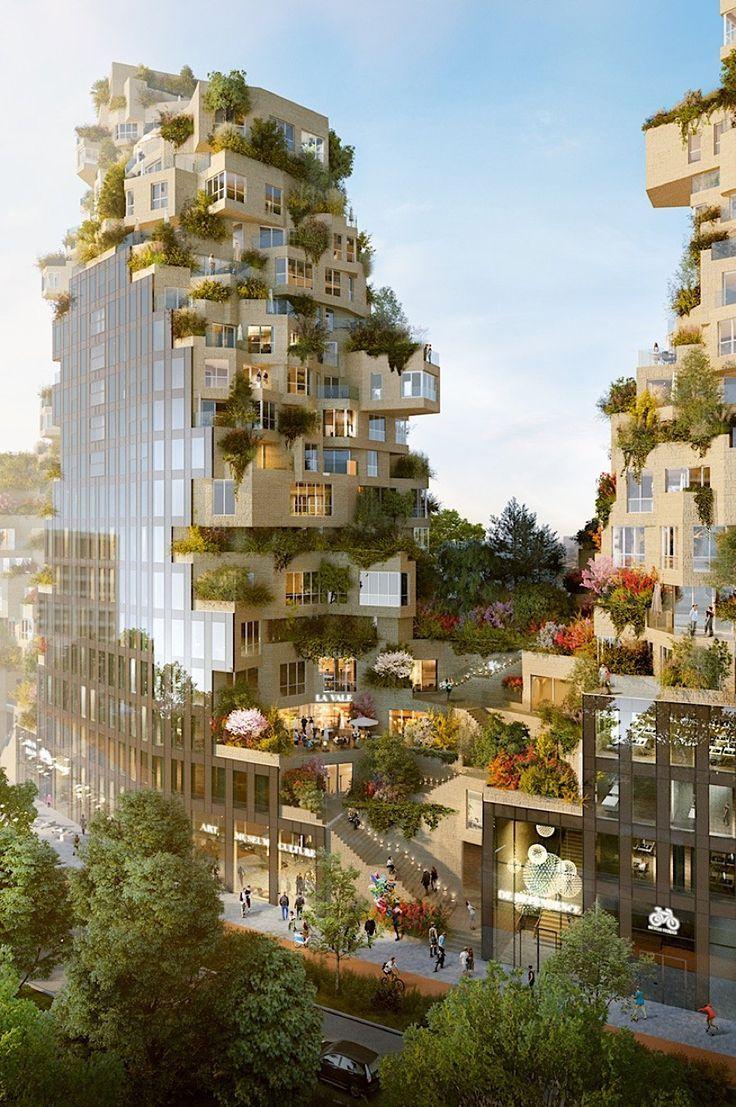 MVRDV baut ein bewachsenes Gebäude in Amsterdam Vor wenigen Wochen wurde im Business-Viertel von Amsterdam der Grundstein für ein sehr interessantes Bauprojekt gelegt. Der Gebäudekomplex Valley