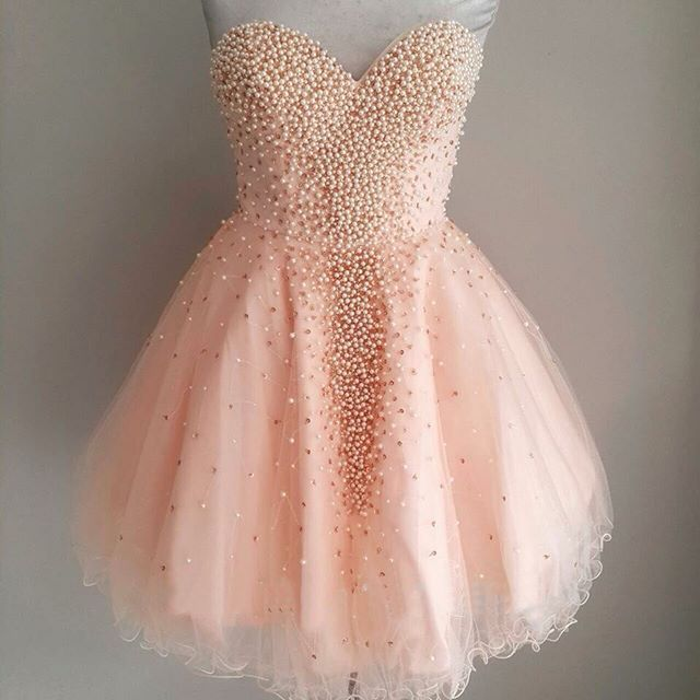 Lovely Mini Homecoming Dresses Sweetheart Pearls Beaded Tulle A Line Short…