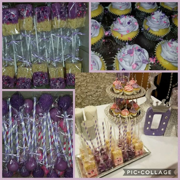 Purple Vanilla Cupcakes..Cake Pops..Rice Crispy Pops for 1st birthday party