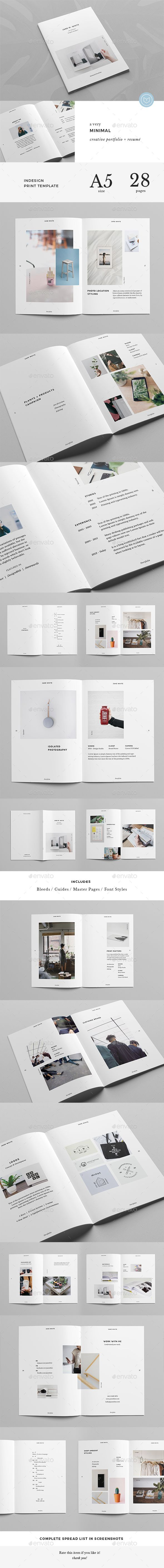 The Minimal Portfolio - Creative A5 Booklet with Resume - Portfolio Brochures