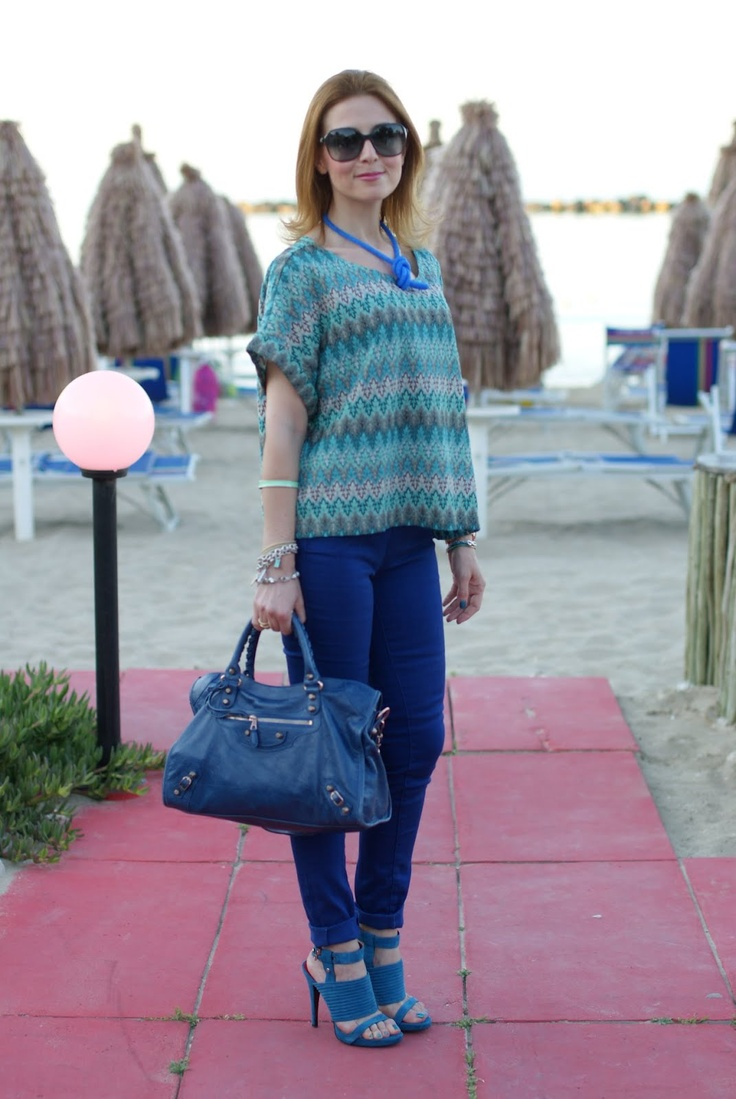 H blouse, Cesare Paciotti sandals, blue outfit