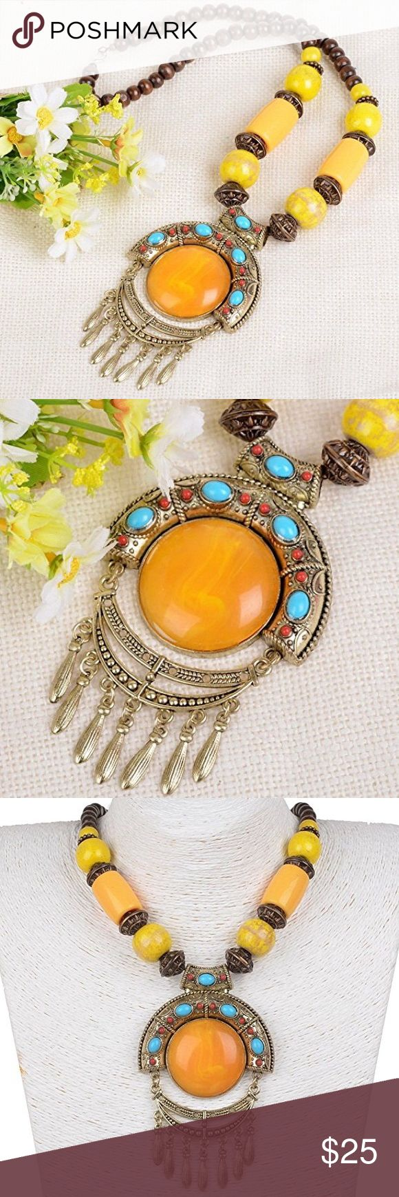 🆕 Chunky Yellow Statement Necklace Brand new. Jewelry Necklaces
