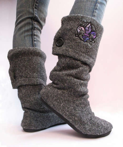 boots made out of an old sweater and a cheap pair of flats