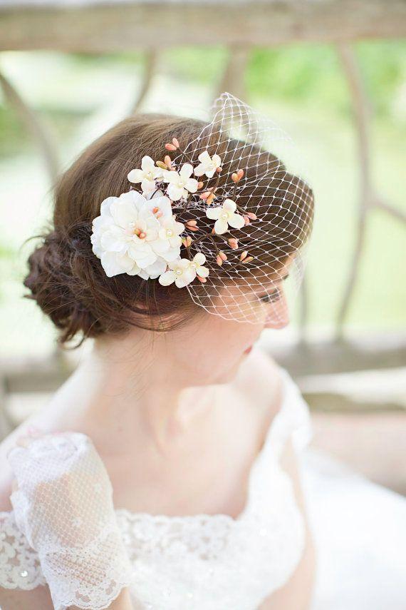 Rose voile de mariée bustier voile de mariage par thehoneycomb