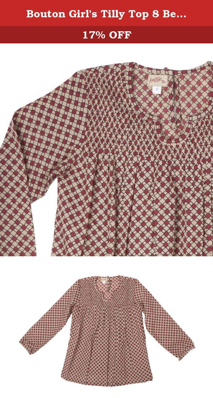 Bouton Girl's Tilly Top 8 Beige And Burgundy Checks 8. smocked top with fill sleeves; fabric covered button on back, and on cuffs. 100% cotton. Cream burgundy square print.