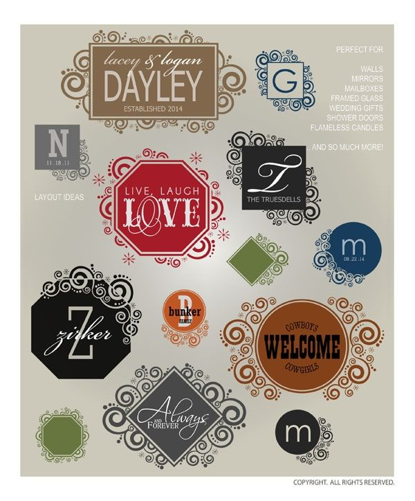 DOWNLOADABLE BORDERS & FRAMES 7 ... 13 elegant, embellished, bordered vinyl ready vector designs for making your own vinyl wall word art designs from home (AI, EPS, GSD, SVG files) @ My Vinyl Designer #vectors