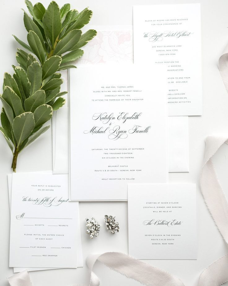 Classic Wedding Invitations in Light Pink with Floral Accents