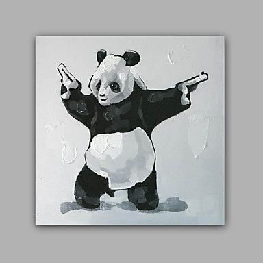 【今だけ☆送料無料】現代 アートなモダン キャンバスアート アートパネル 動物画1枚で1セット パンダ 拳銃 ピストル カンフー【納期】お取り寄せ2~3週間前後で発送予定