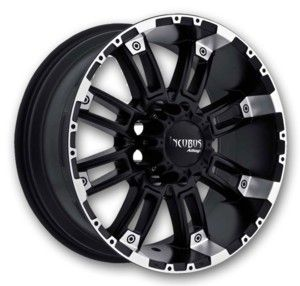Incubus Wheels Crusher 20x9 Black Machine Low Offset - Wheel and Tire Package (Incubus-Rims-Crusher-20-9BML)
