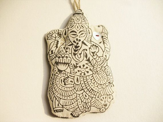 Boho xmas ornament large Ganesh handprinted black & by GaneshasRat