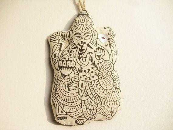 Boho xmas ornament large Ganesh handprinted black & by GaneshasRat