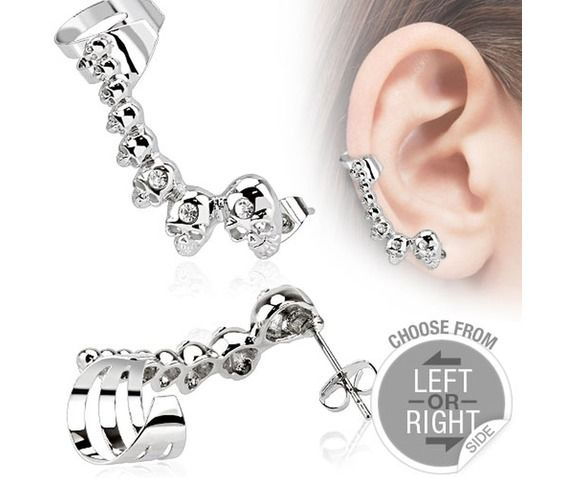 316 l stainless steel cartilage ear cuff with mini cast skulls right side earrings 2