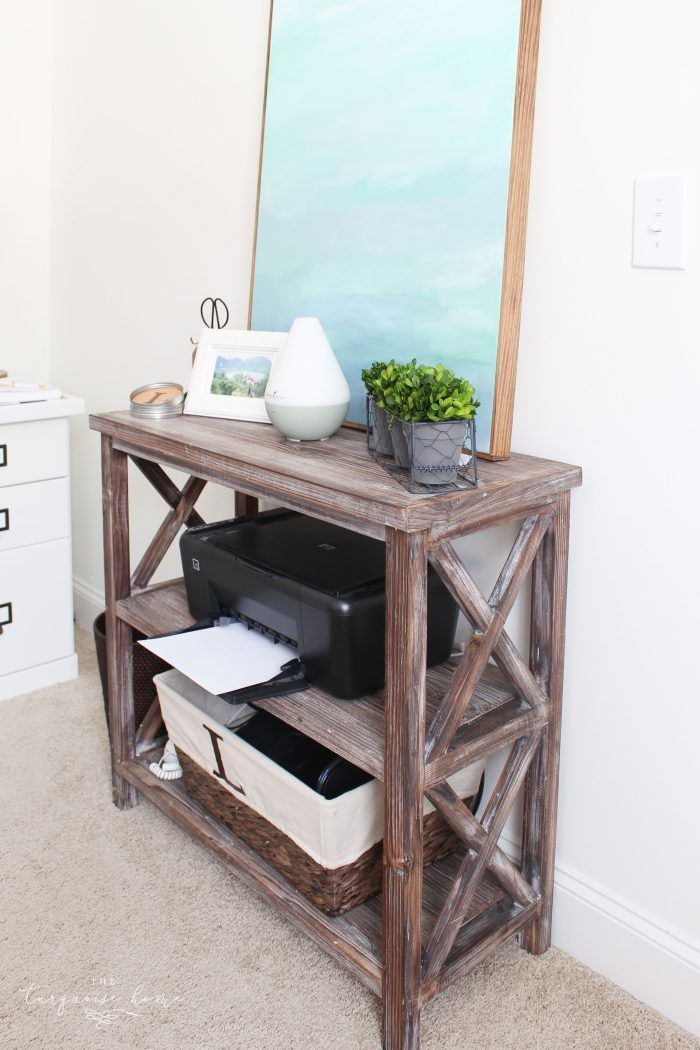 Nice printer stand from Kirklands - How to Declutter an Entire Room! My Organized Office | 30 Days to Less of a Hot Mess