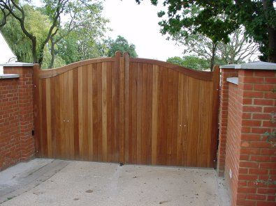 A wooden gate in craftsman style.